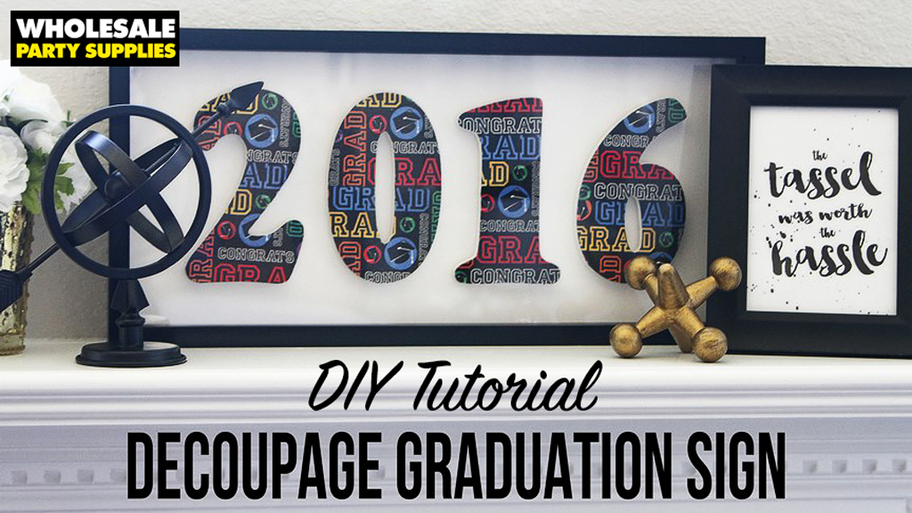 DIY Decoupage Graduation Year Shadowbox
