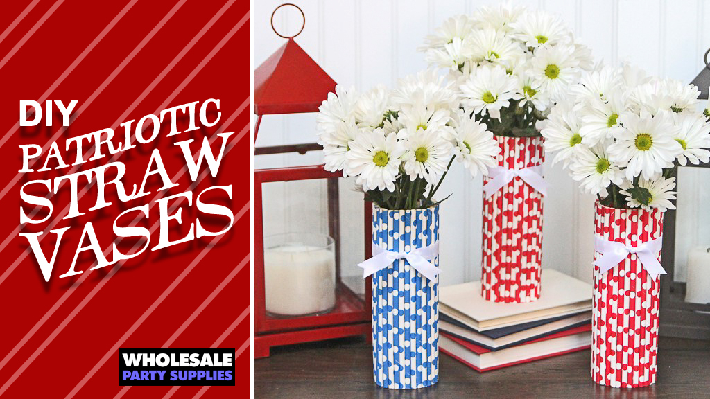 DIY Patriotic Decor – Straw Vases