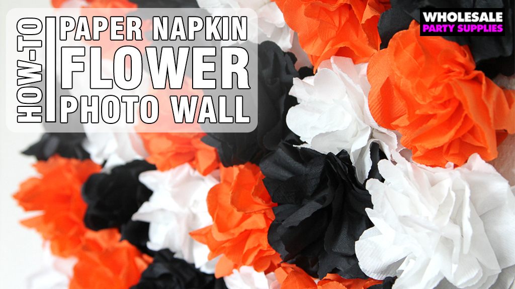 Halloween Photo Backdrop with Paper Napkin Flowers
