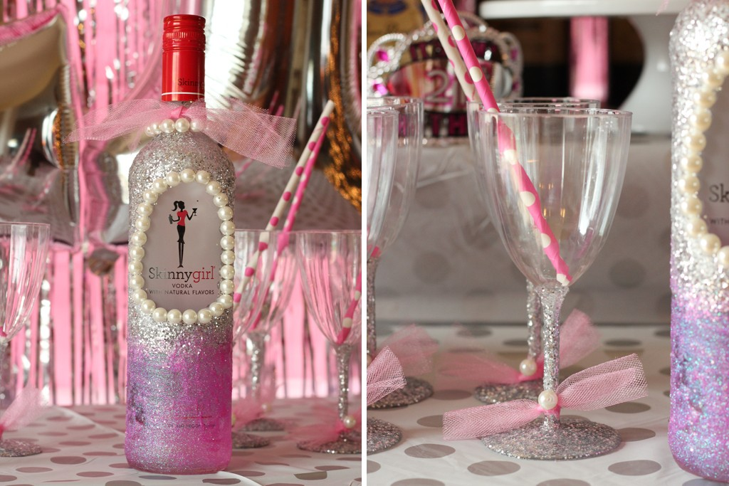 Glittered Bottle and Glasses