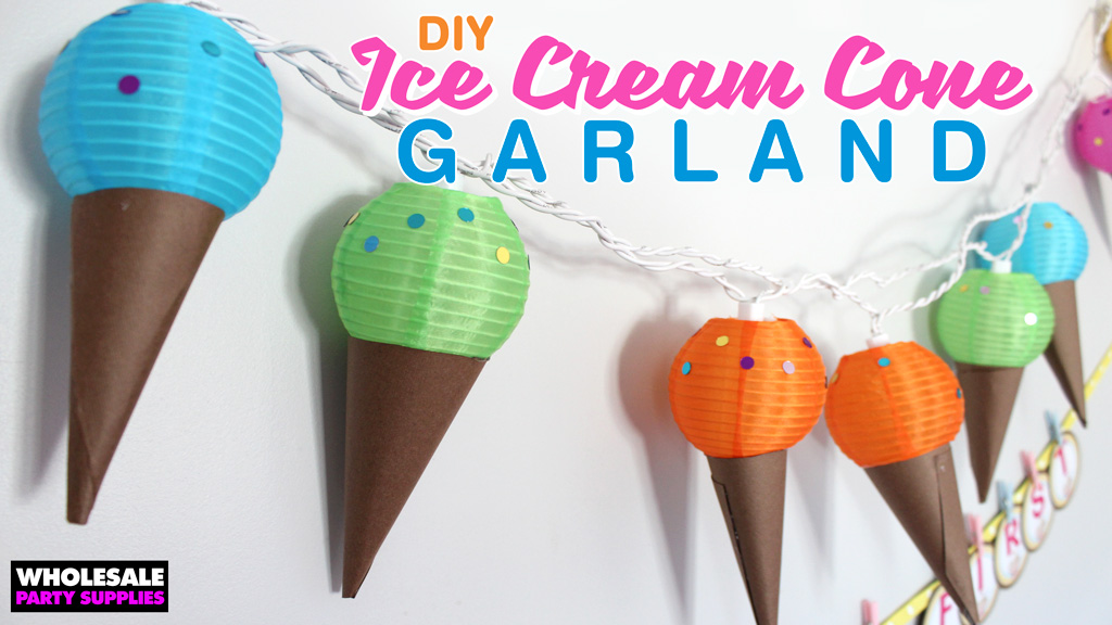 DIY Ice Cream Cone Garland and Letter Banner Tutorial