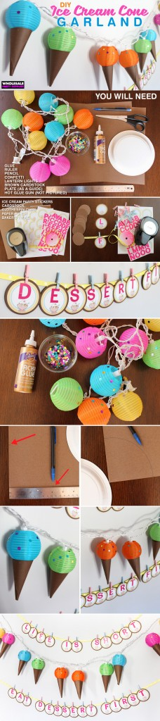 Ice Cream Garland and Letter Banner Pinterest