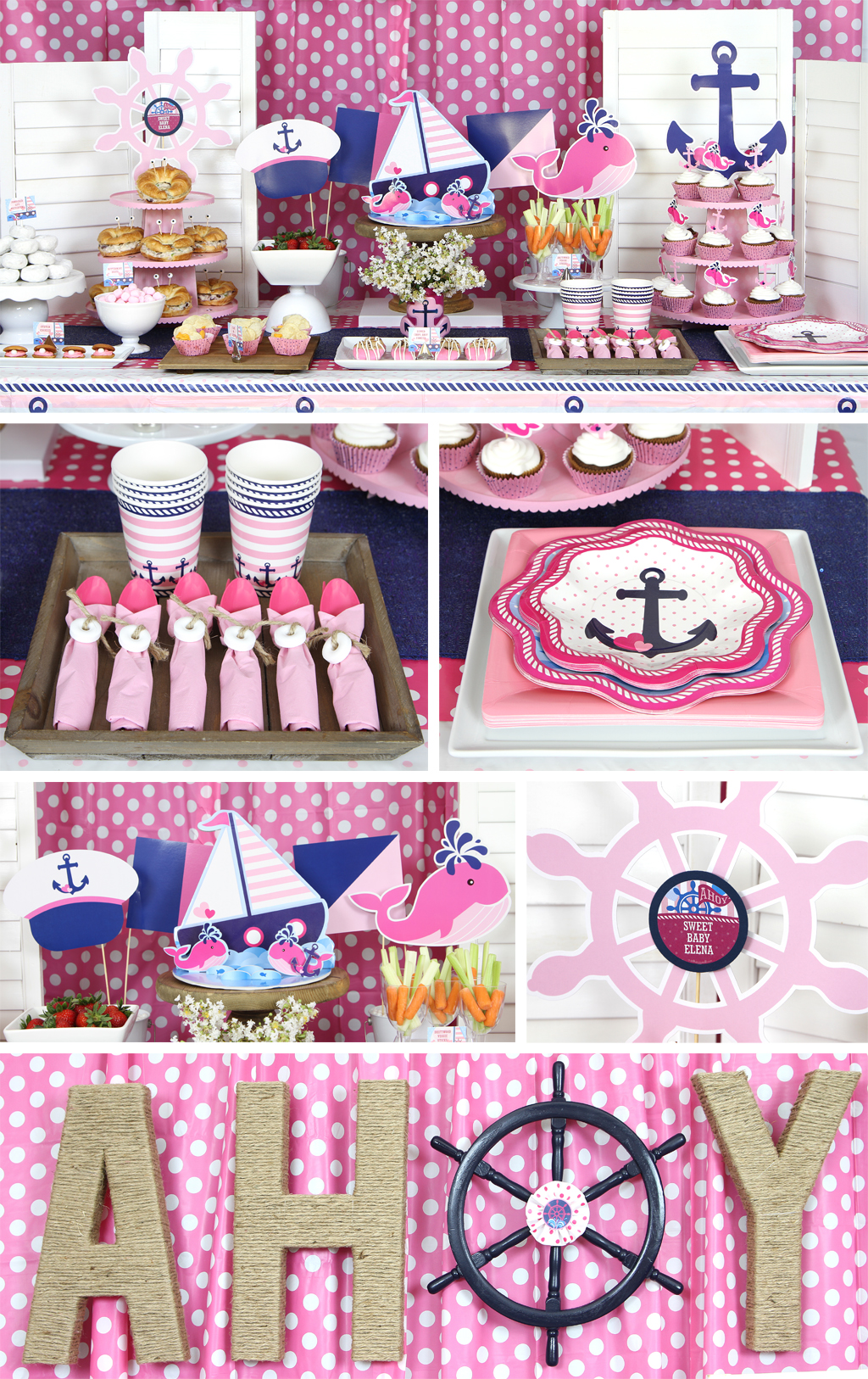 Nautical Pink Baby Shower Table
