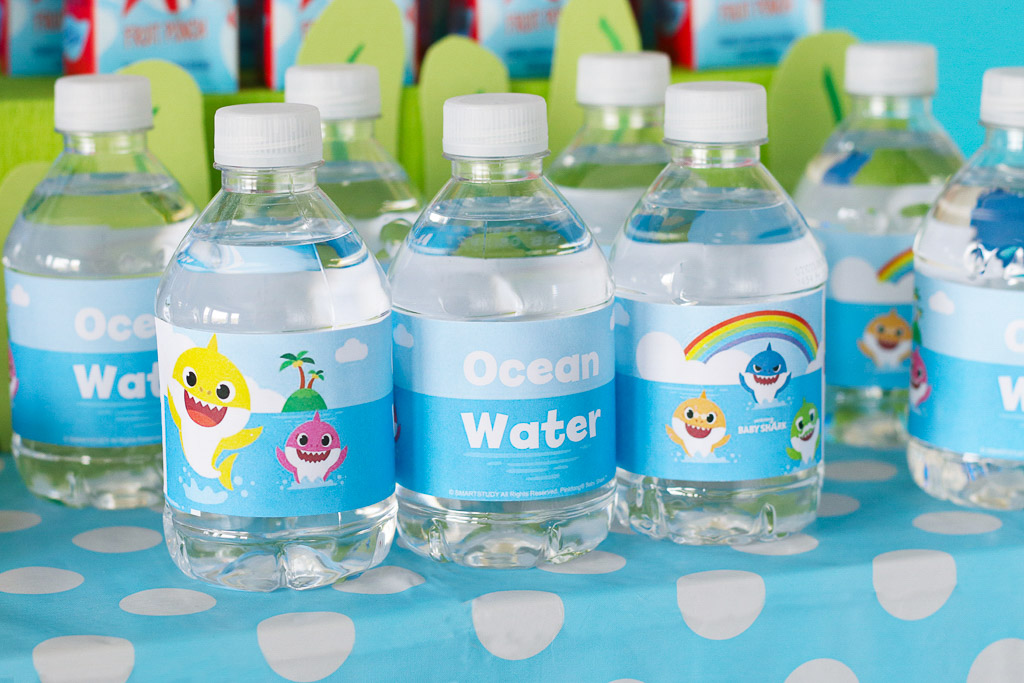 Baby Shark Party Personalized Water Bottles