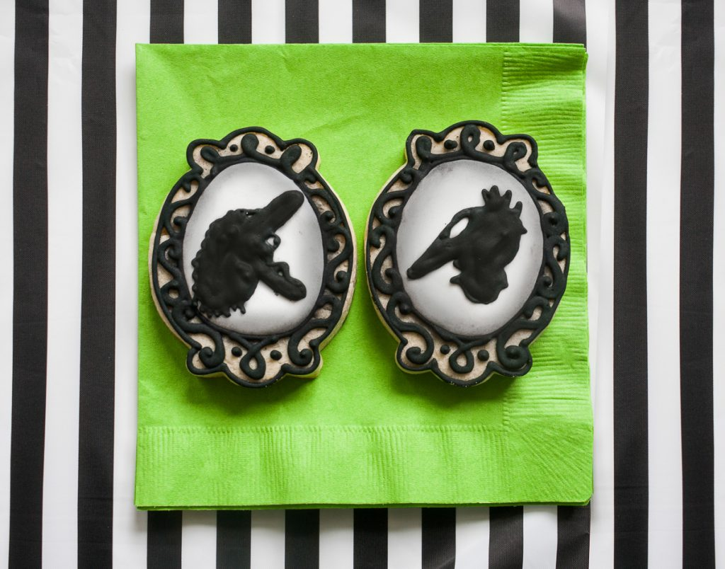 Beetlejuice Decorated Cameo Cookies