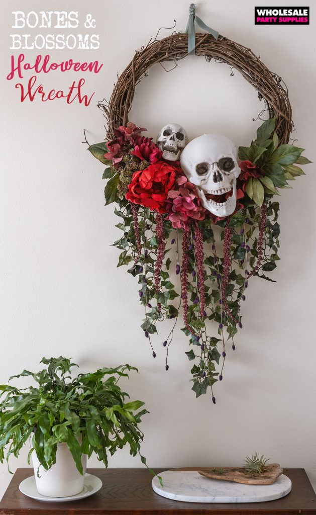 DIY Bones and Blossoms Halloween Wreath Pinterest Guide