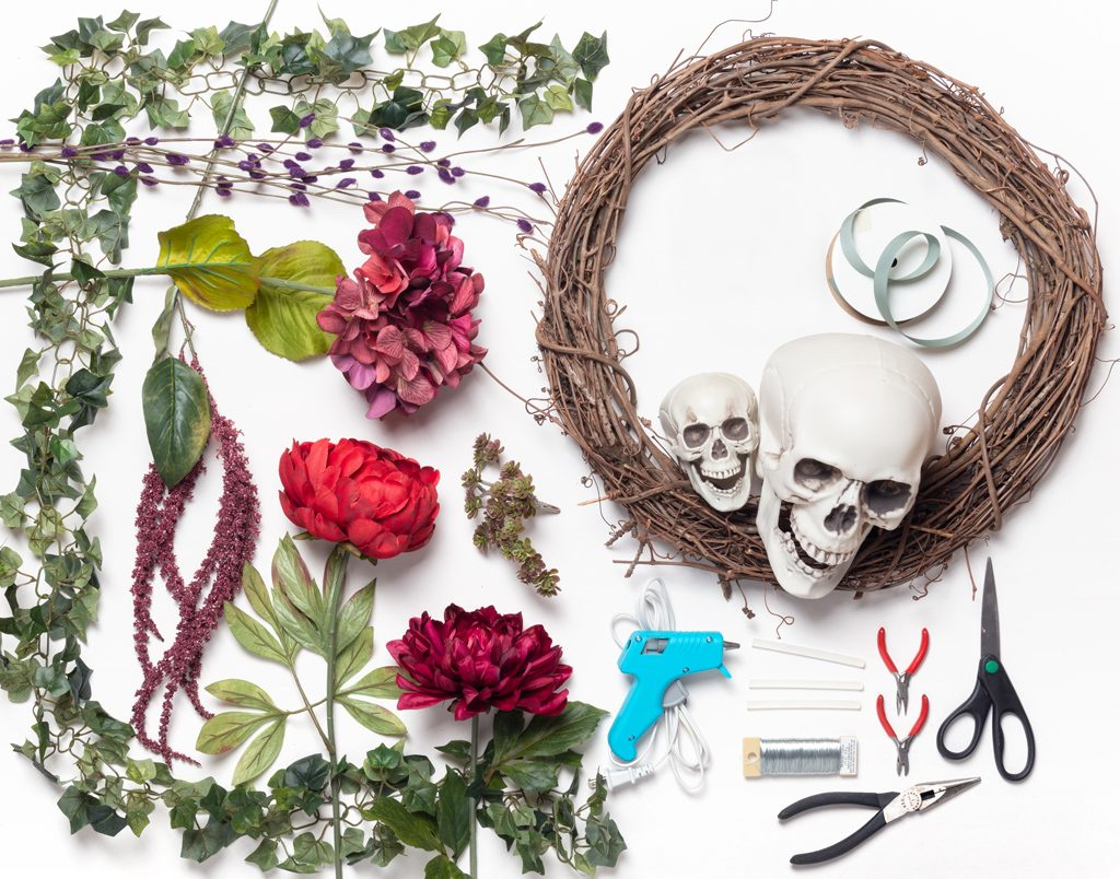 DIY Bones and Blossoms Halloween Wreath Supplies