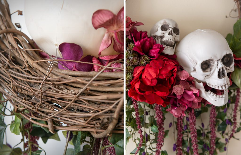 DIY Bones and Blossoms Halloween Wreath Step 11