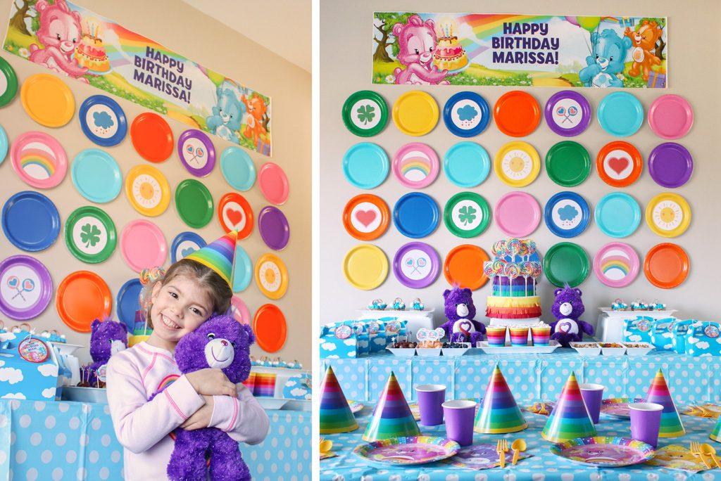 DIY Care Bears Party Backdrop - Paper Plates and Templates