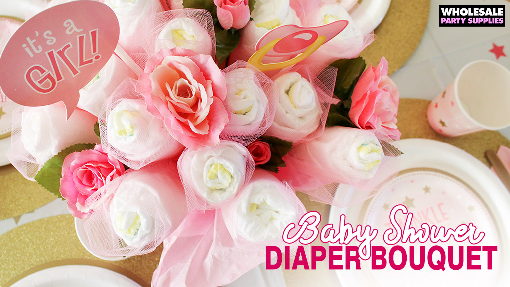 Twinkle Twinkle Pink Baby Shower DIY Diaper Bouquet