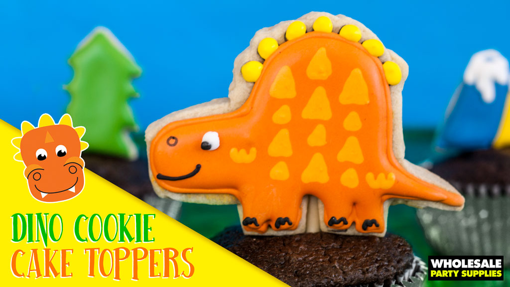 Decorated Dinosaur Cookie Cake Toppers