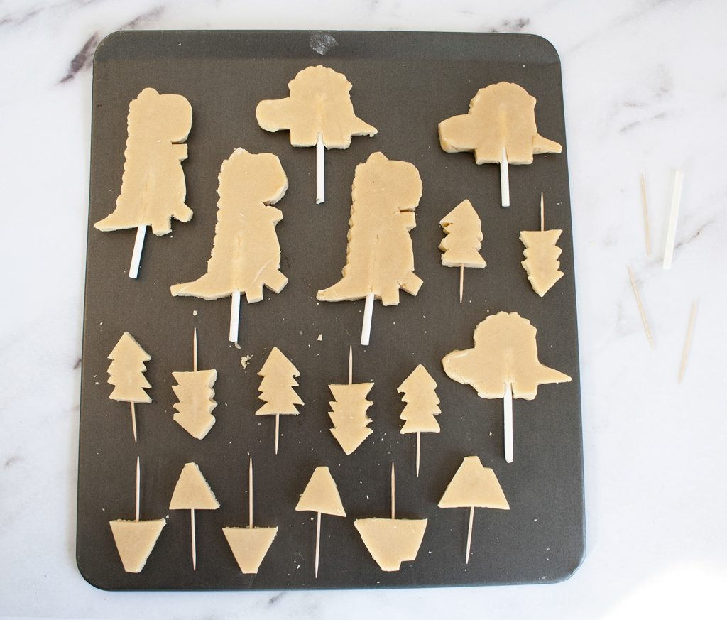 Dinosaur Cookie Cake Toppers Step 1
