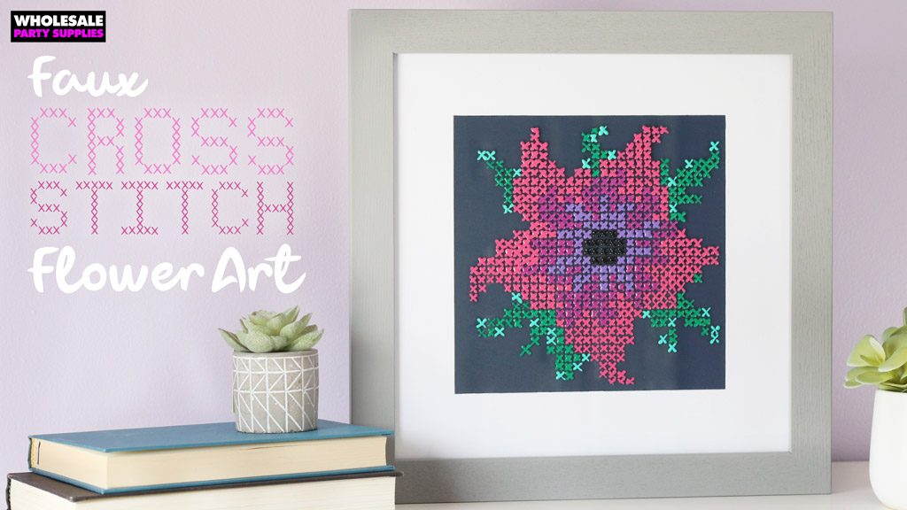 DIY Faux Cross Stitch Flower Art