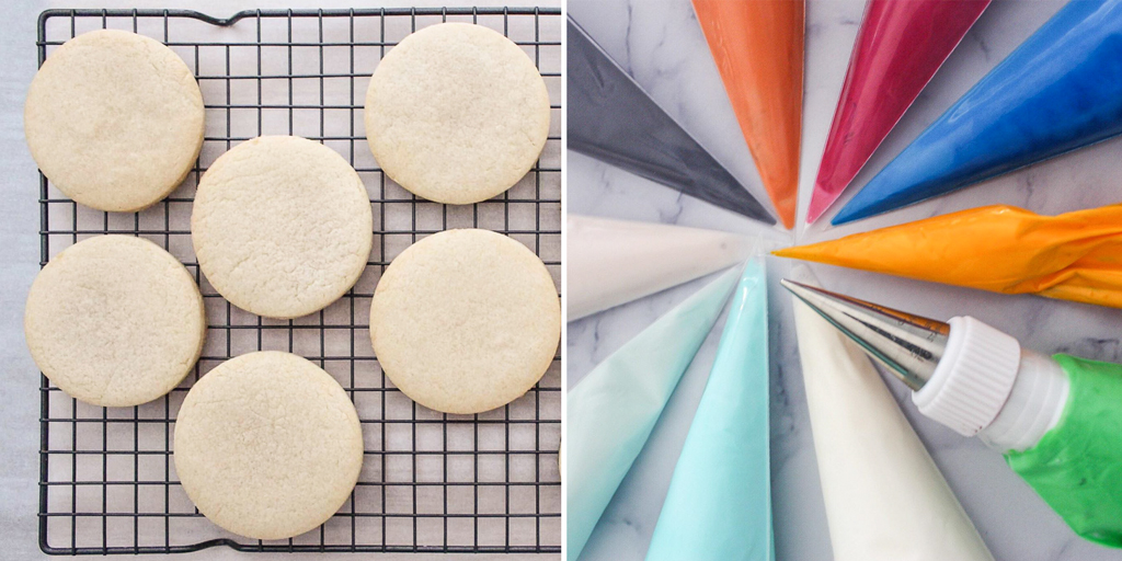 Baked Cookies and Prepared Royal Icing