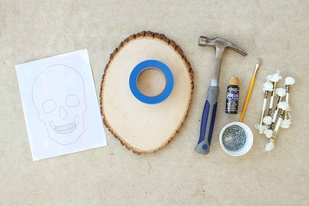 DIY Glowing Skull String Art Supplies