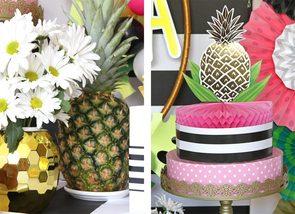 Golden Pineapple Party Decoration Details