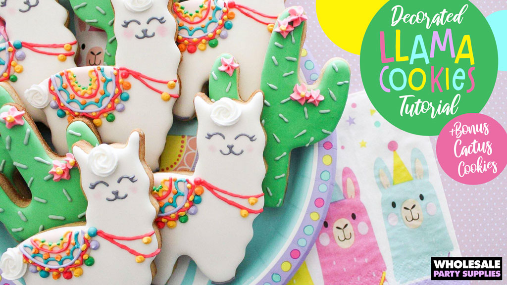 Decorated Llama and Cactus Cookies Tutorial