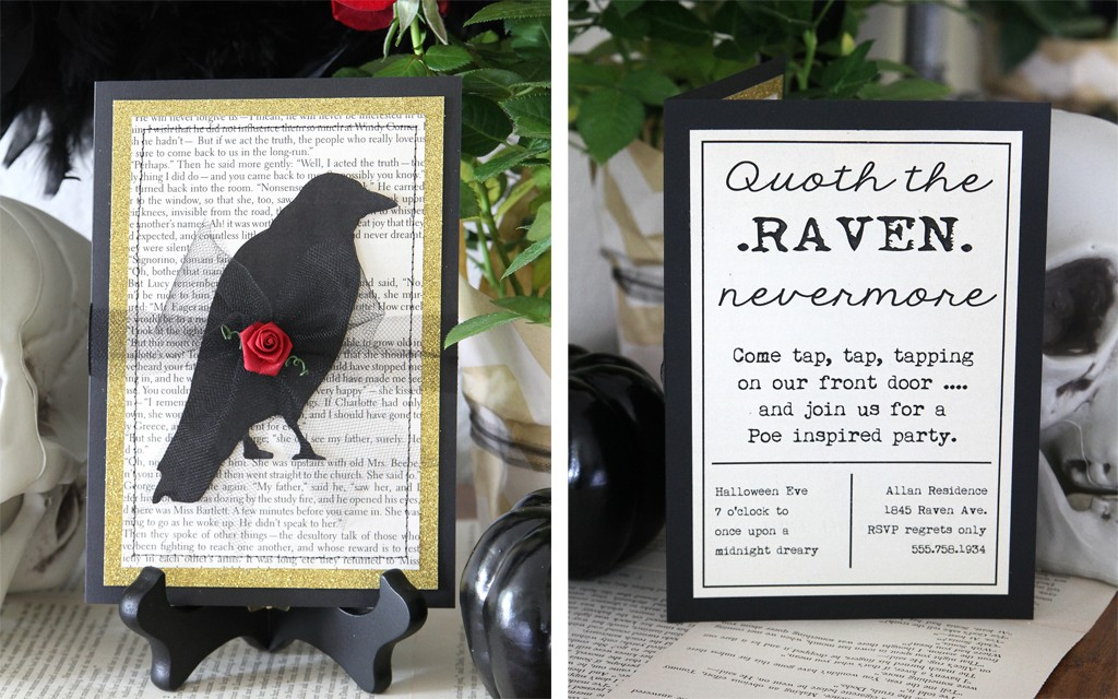 Edgar Allen Poe Themed Halloween Party Invitation