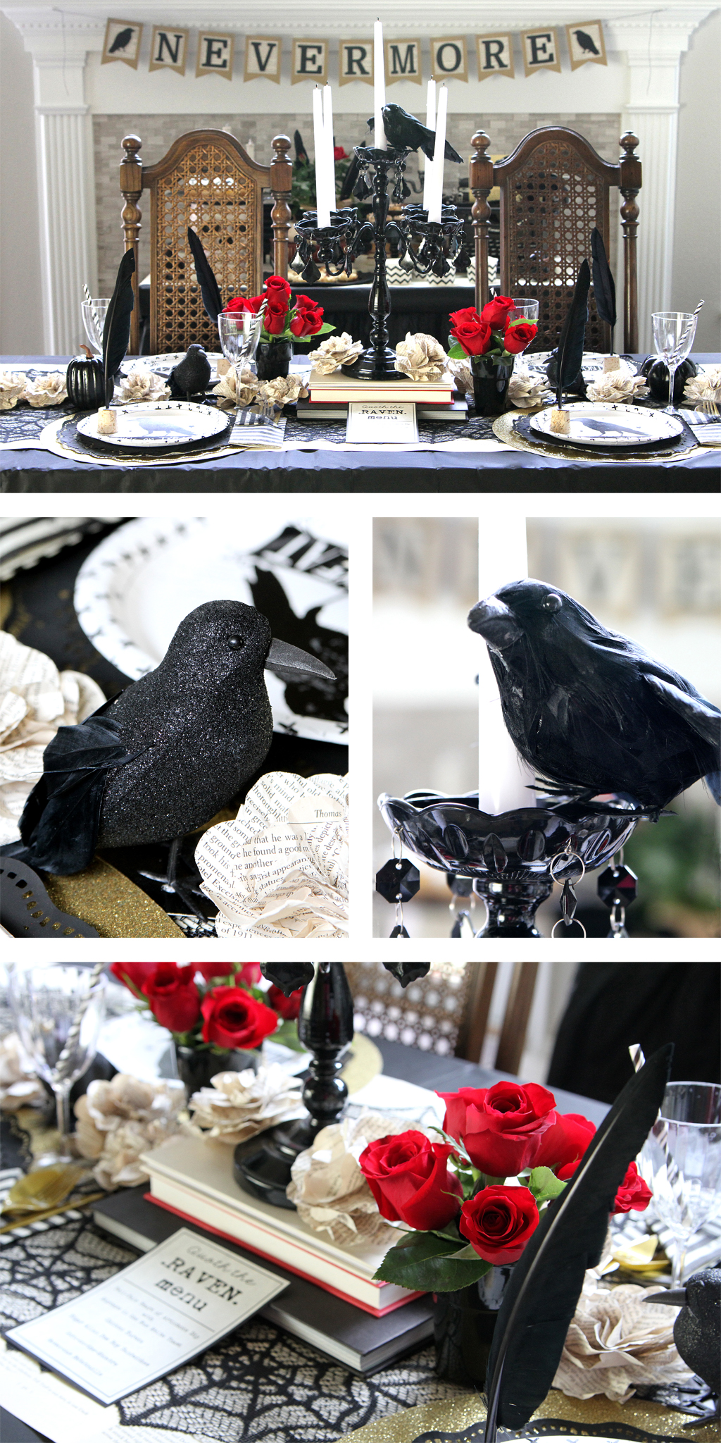 Edgar Allen Poe Themed Halloween Party Table