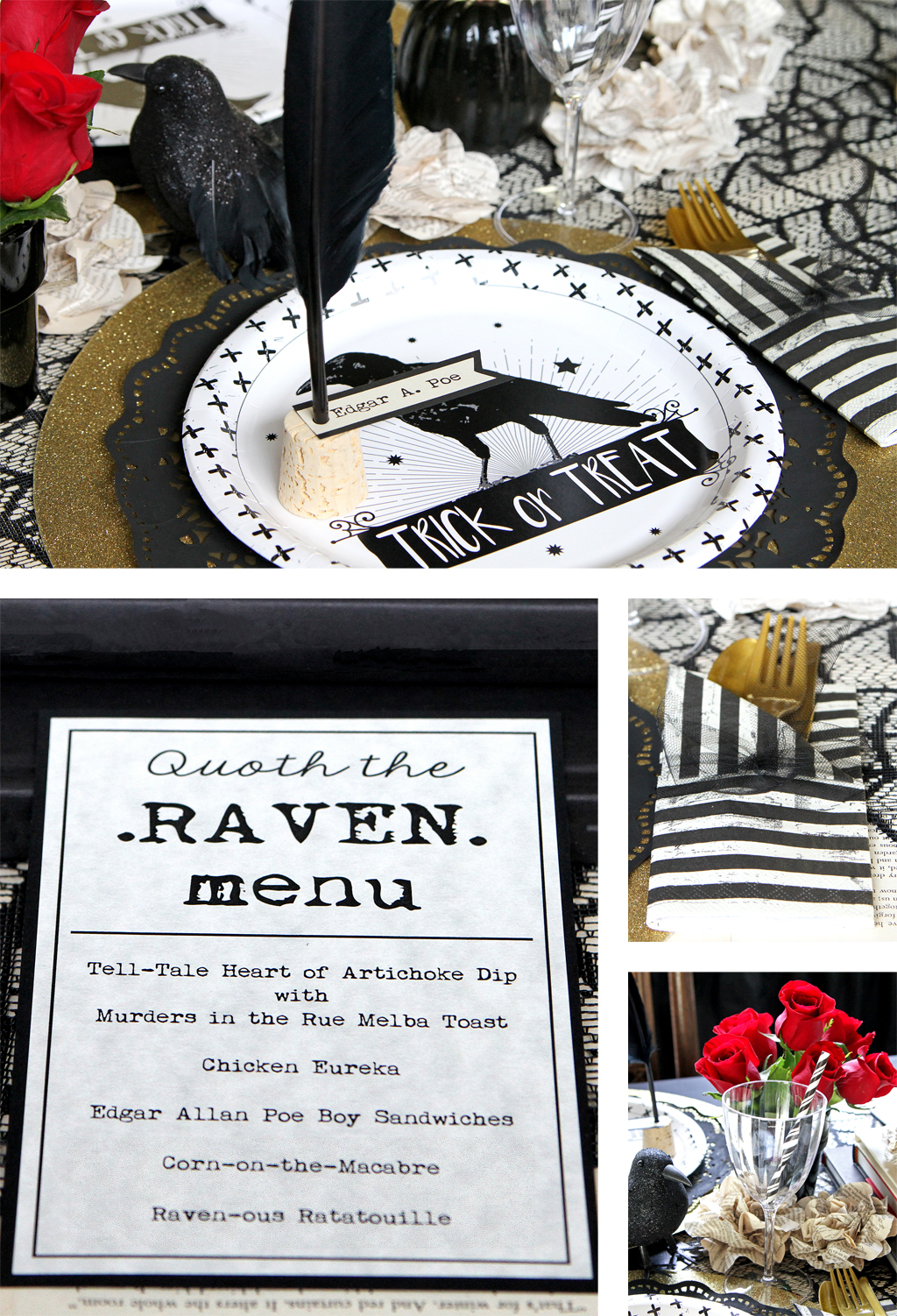 Edgar Allen Poe Themed Halloween Party Table Details