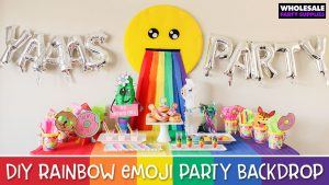 DIY Rainbow Throw Up Emoji Party Backdrop