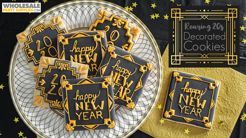 Roaring 20s New Year's Eve Decorated Cookies