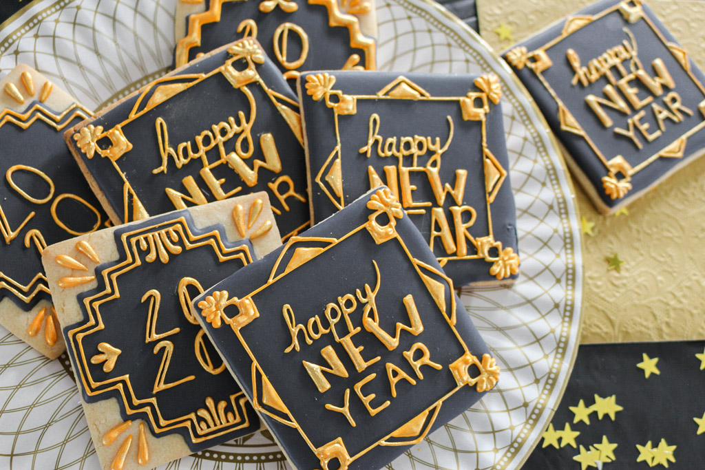 Roaring 20s New Year's Eve Decorated Cookie Tutorial