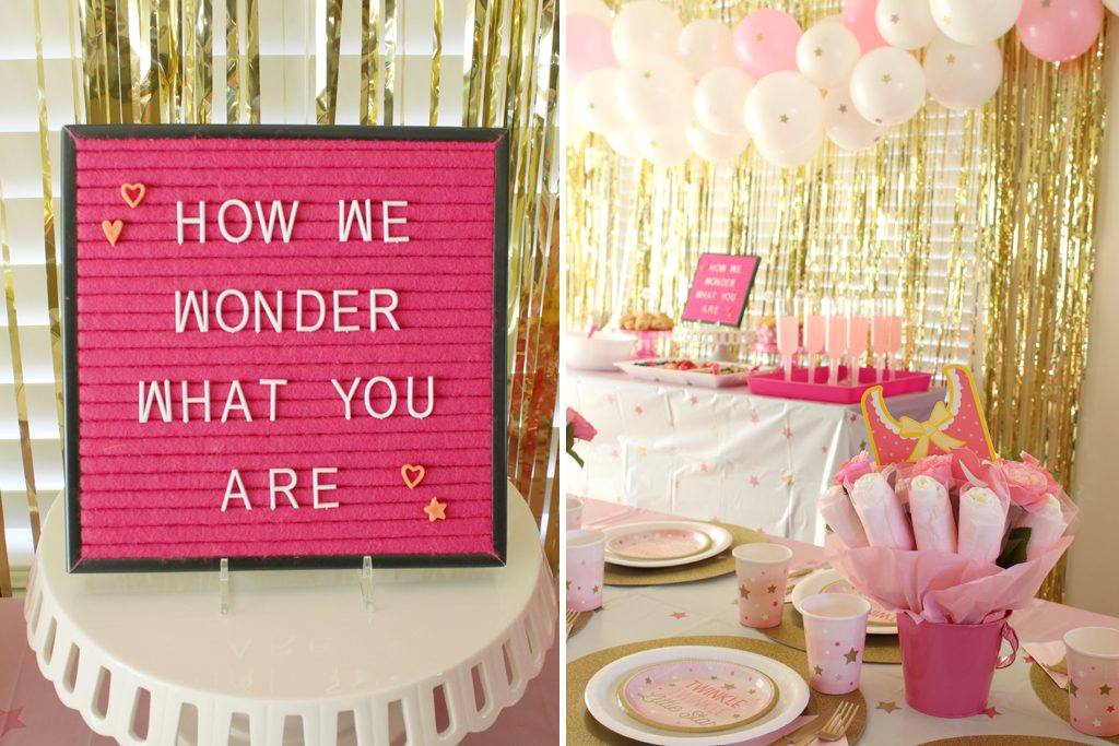 Twinkle Twinkle Pink Baby Shower Decoration Details
