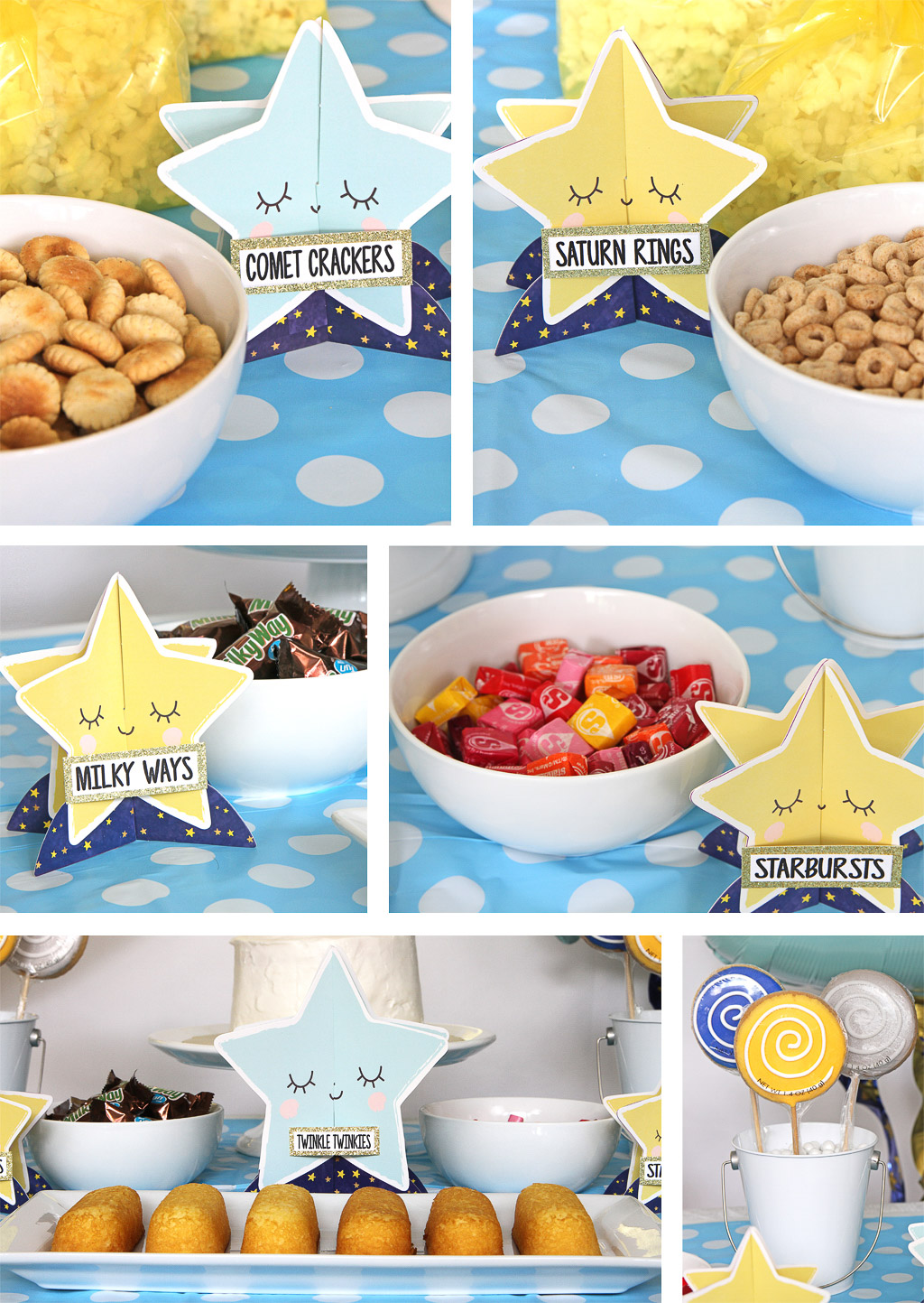Twinkle First Birthday Food Labels
