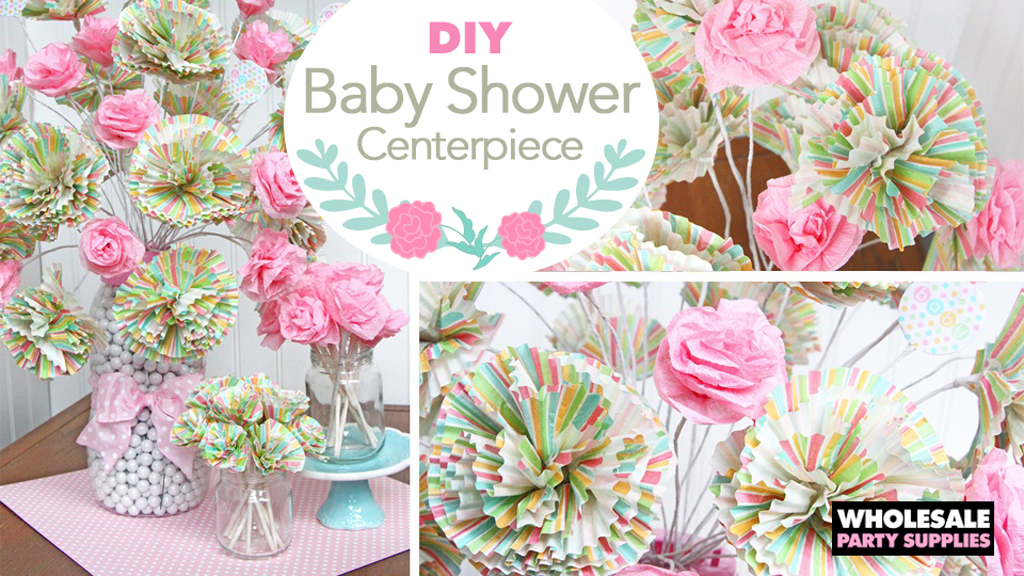 DIY Baby Shower Paper Flower Bouquet Centerpiece