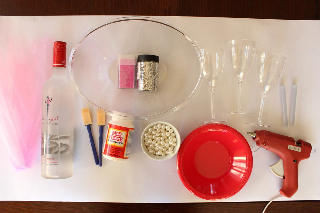 Glittered Bottle and Glasses Supplies