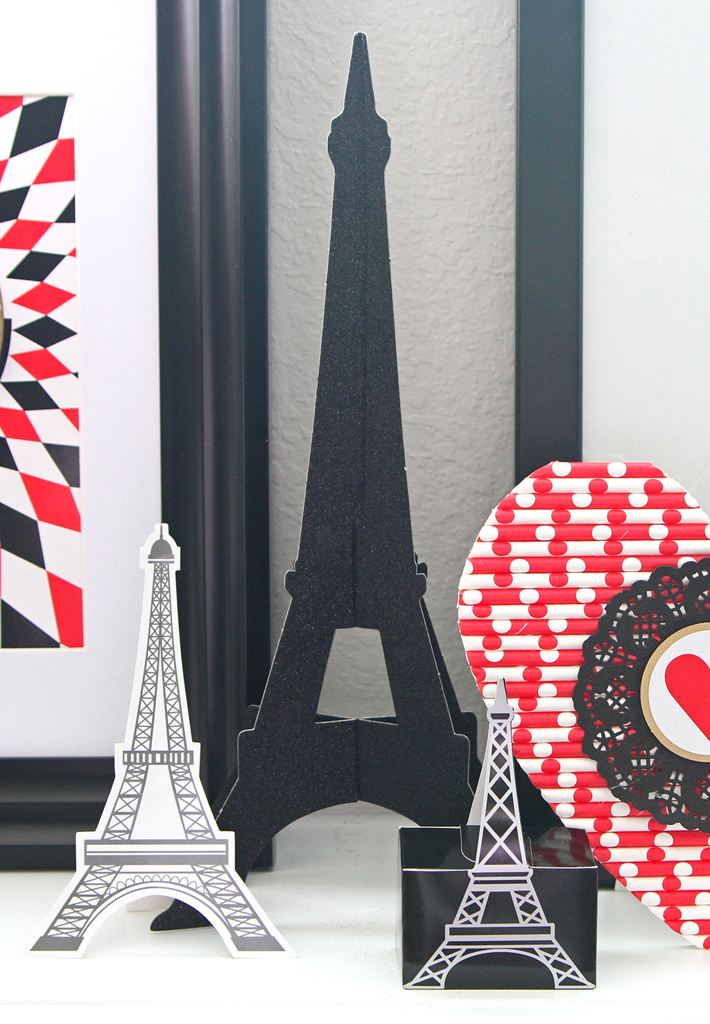 Valentine's Day Mantel Eiffel Tower Cut Outs