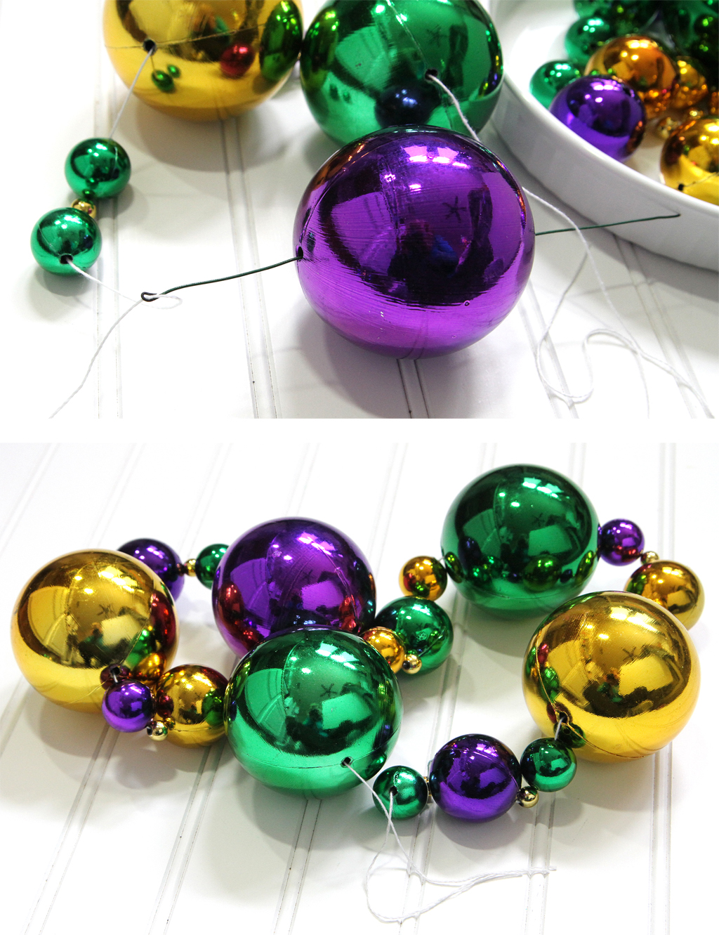 Mardi Gras DIY Wreath Stringing the Beads