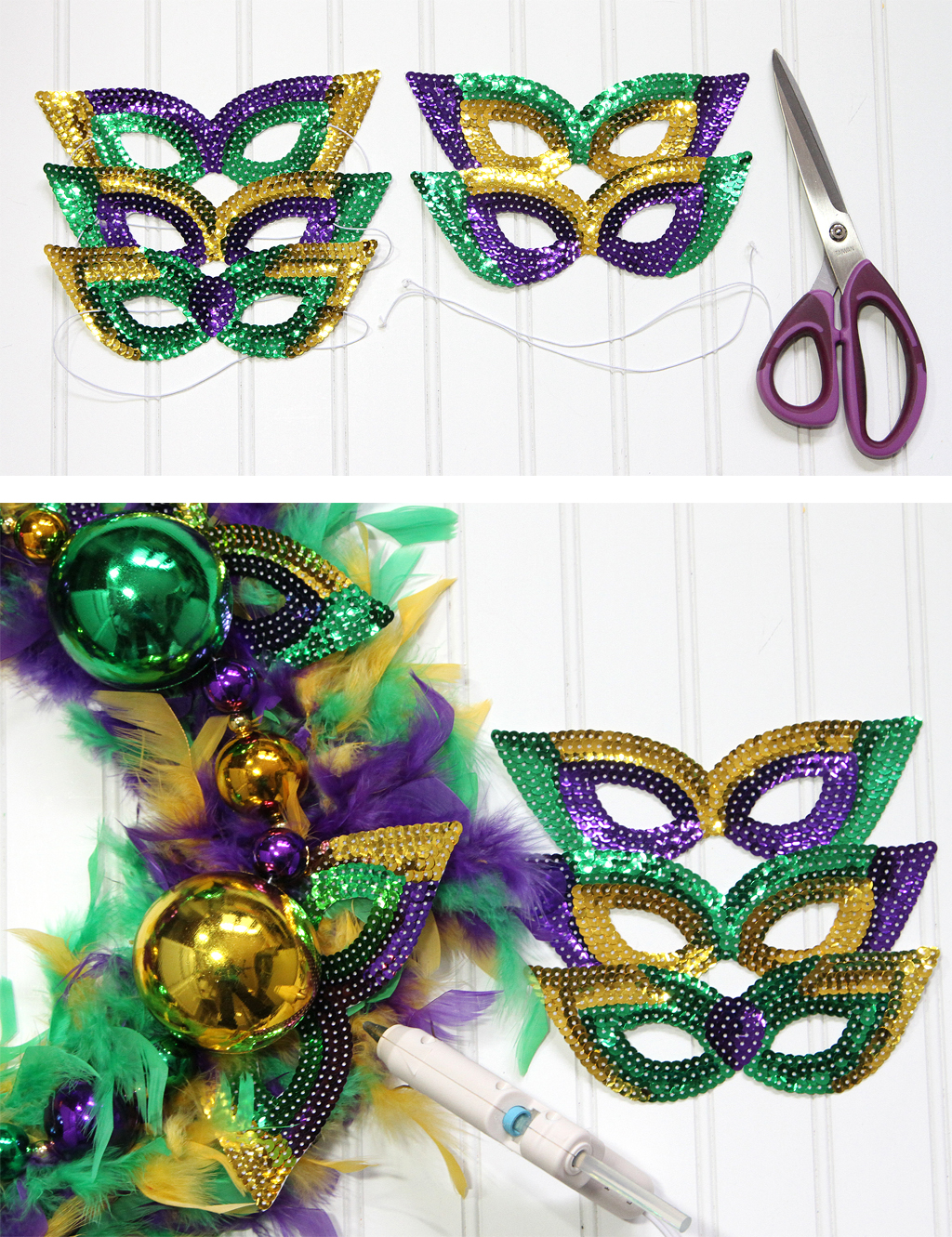 Mardi Gras DIY Wreath Adding the Masks