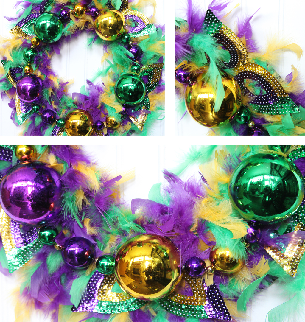 Mardi Gras DIY Wreath Final Look