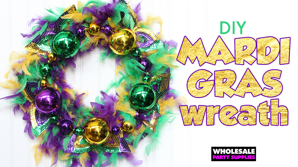 This tutorial will show you how to turn Mardi Gras costume accessories into a festive wreath for the holiday.