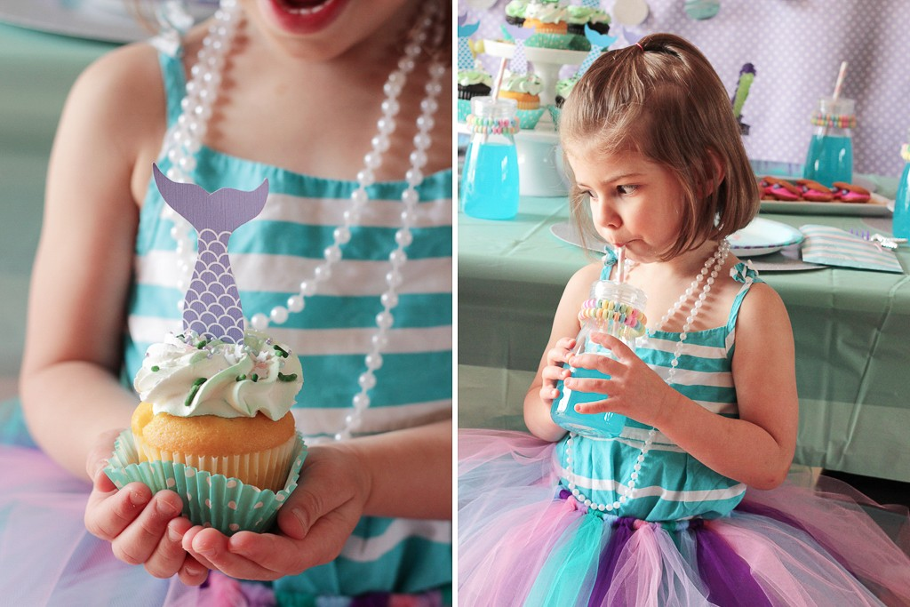 MERMAID BIRTHDAY PARTY (Mermaid-party-invite-2.jpg) If you're daughter is always hunting for sea glass, obsessed with all things under the sea or wishes she had a fin instead of legs, then she's itching for a mermaid birthday party! Grant her this magical wish and turn your dining room into her mermaid grotto. Dress the tables and chairs with waves of aqua and purple, and tulle! Serve clamshell cookies, crispy rice stars and cupcakes covered in a mermaid sprinkle mix to satisfy their sweet tooth. If you're near a body of water, dive right in and afterwards create beautiful sand art so your friends will remember their adventure at your birthday bash! INVITATIONS: (Mermaid-party-invite-1.jpg) Reel friends into your fun party theme with a cute invitation. (https://www.wholesalepartysupplies.com/products/mermaids-under-the-sea-invitations-8) (Mermaid-party-invite-3.jpg) Make this invite extra special and use a glue pen and crystal fine glitter to make it sparkle! DECORATIONS: (Mermaid-party-table-front.jpg) After lots of swimming or a craft session your girls will be ready for some refreshments. Don your party table with lots of aqua, purple, silver and pink to keep that mermaid color palette going strong! Dress the table backdrop with a mix of dot garlands (https://www.wholesalepartysupplies.com/products/dot-garland-silver), pennants and polka dot designs to set the grotto mood. Float some mermaid friends (https://www.wholesalepartysupplies.com/products/inflatable-mermaid?via=5759b04169702d39da0000b6%2C5759b0bb69702d39da000455%2C5759b1a269702d39da000af4%2C5759b1a369702d39da000afb) nearby! (Mermaid-party-table-setting.jpg) When it comes to the place setting, consider layers. Silver placemats (https://www.wholesalepartysupplies.com/products/silver-glitz-14-round-placemats-8) add the sparkle your table is looking for. (Mermaid-party-utensil-pouch-2.jpg) Stack on mermaid themed plates (https://www.wholesalepartysupplies.com/products/mermaids-under-the-sea-party-pack?via=5759b04169702d39da0000b6%2C5759b0bb69702d39da000455%2C5759b1a269702d39da000af4%2C5759b1a369702d39da000afb) and keep all the dinglehoppers, we mean utensils, inside an embellished utensil pouch (http://wp.me/p4eycZ-50U) made from a striped treat bag.( https://www.wholesalepartysupplies.com/products/pastel-blue-striped-paper-treat-bags-15) (Mermaid-party-utensil-pouch-wand.jpg) Inside a silver wand that they can wave around after enjoying their sweet treat! (Chair-tutu-DIY-final-4.jpg) Decorations aren't limited to the table alone! Create tutu decorations (LINK TO TUTORIAL POST) to dress their seats. Don't be shellfish! (See the high res folder for mermaid-party-guests.jpg that needs to be resized for web) Remove these tutus for a grand photo op of her besties dressed in colors of the sea and let them take these home as an additional party favor. FOOD & DRINK: (Mermaid-party-food-cupcake-tower.jpg) (Mermaid-Party-Food-Guest.jpg) Mermaids love things that shimmer and catch the light so make sure the food and desserts of this mermaid party do the same! (Mermaid-party-food-cupcake-four.jpg) Mix edible pearls, shimmering sugar crystals and star sprinkles to make your own mermaid sprinkle mix. Add a second baking liner (https://www.wholesalepartysupplies.com/products/teal-dots-standard-baking-cups-75?via=5759b04169702d39da0000b6%2C5759b0bb69702d39da000455%2C5759b1a269702d39da000af4%2C5759b1a869702d39da000b20) around the cupcakes for extra color! (Mermaid-party-food-star-cookies.jpg) Add these delectable delights to cupcakes, Rice Krispies treat stars or the basic sugar cookie to make it extra special. (Mermaid-party-food-seaweed-coral.jpg) Forget the sushi! Create edible seaweed and colorful coral from skewered grapes and rock candy! (https://www.wholesalepartysupplies.com/products/green-apple-rock-candy-stick-1-piece) (Mermaid-party-food-clam-cookies.jpg) Sandwich two wafer cookies between a dollop of colorful icing and shimmer sixlets (https://www.wholesalepartysupplies.com/products/shimmer-lavender-sixlets-candy) to create a clamshell cookie. Or mix together different colors of chocolate and create some mermaid bark.( http://breadboozebacon.com/mermaid-bark-recipe/) (Mermaid-party-party-drink.jpg) Embellish their glass (https://www.wholesalepartysupplies.com/products/plastic-milk-jar-4) of sea water (aka Hawaiian punch) with a candy necklace that will not only make it look pretty but give a snack for later in the day. ACTIVITY: (Mermaid-party-Activity-sand-art.jpg) Sure, if you have a pool, most of the activities for this mermaid party can involve lots of swim time. But for those of you who want to enjoy the mermaid party theme but don't have a body of water nearby, you can still enjoy some fun party activities that fit the under the sea feel. Consider an artistic activity so everyone can take home more than memories from your mermaid bash. Slime station – Place glue, starch and glitter at this station to create beautiful mermaid slime (http://littlebinsforlittlehands.com/make-ocean-slime-summer-science-activity/) Sand art – Layer colorful sand to create your own bit of the sea to take home! Shell painting – Get create and paint your own scenes, phrases or patterns on these relics of the ocean Tie dye station – Consider a wearable craft to take home and set up a tie dye station using only blues, greens and purples to keep the color going. 