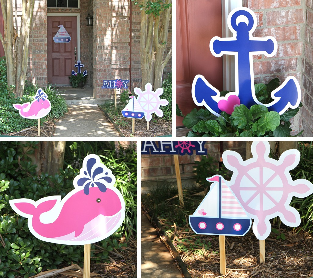 Nautical Pink Baby Shower Outdoor Decorations