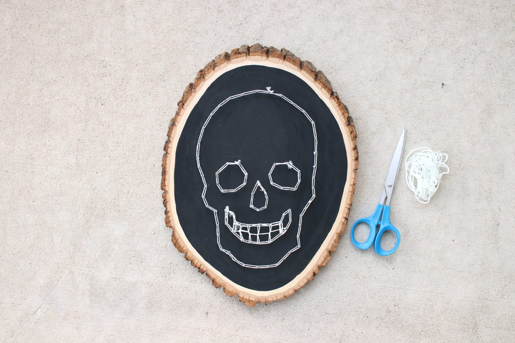 DIY Glowing Skull String Art Step 3