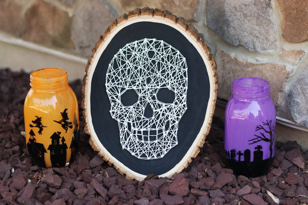 DIY Glowing Skull String Art Step 6