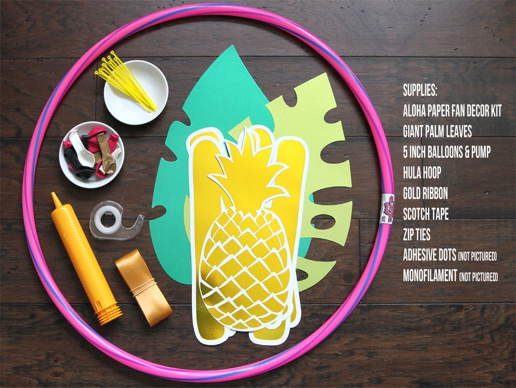 DIY Tropical Balloon Hoop Wreath Supplies
