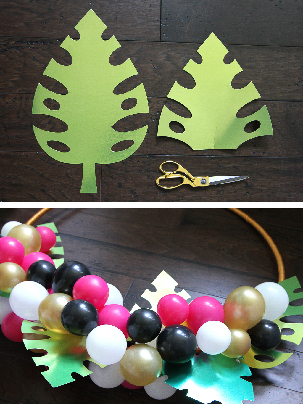 DIY Tropical Balloon Hoop Wreath Step 5
