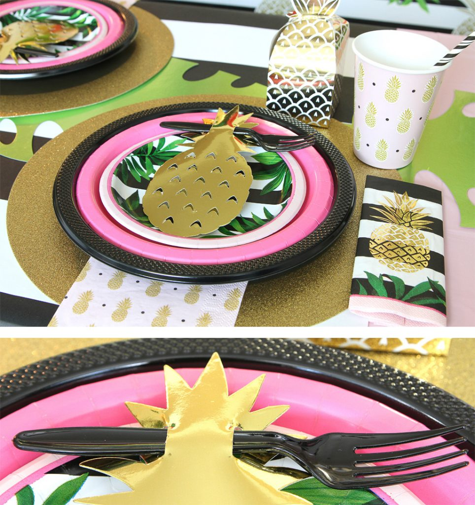 Golden Pineapple Party Tableware