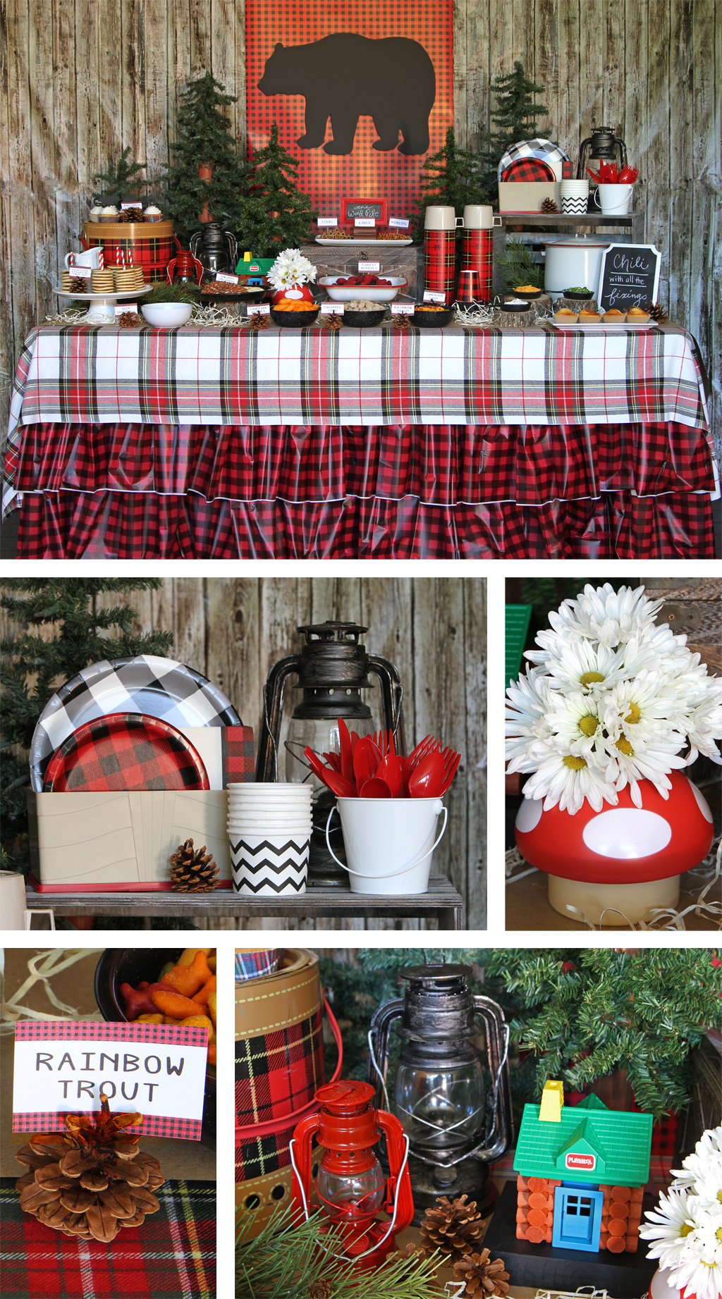 Lumberjack Plaid Party Table Decoartions