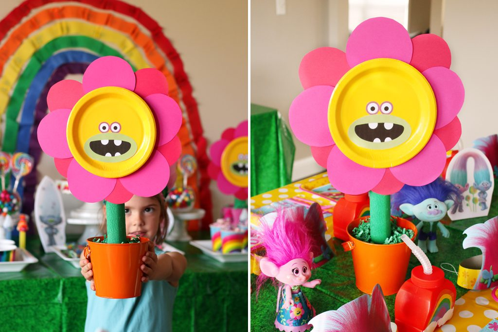 DIY Trolls Flower Party Decoration