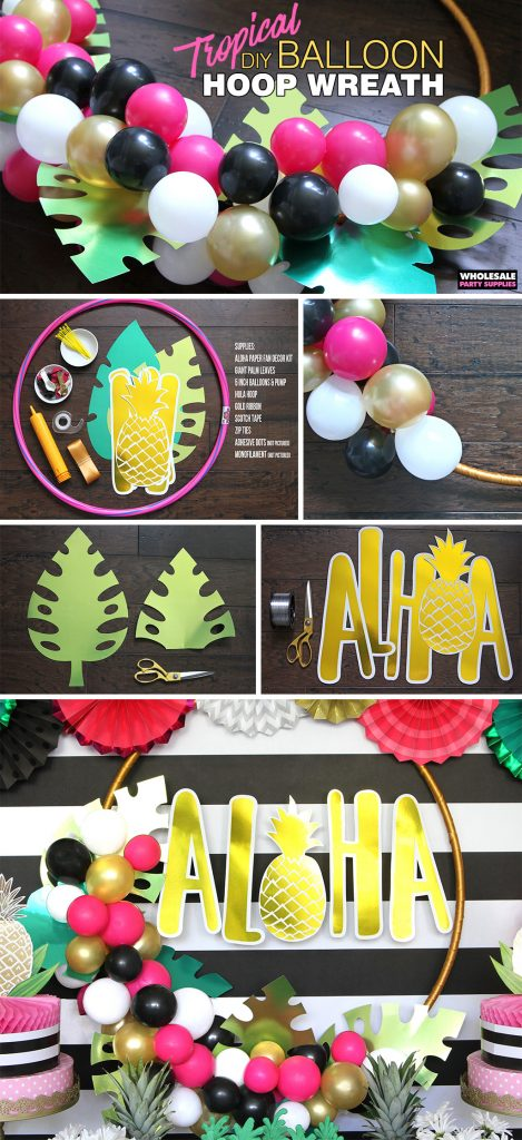DIY Tropical Balloon Hoop Wreath Pinterest Guide