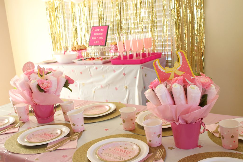 Twinkle Twinkle Pink Baby Shower Table Ideas