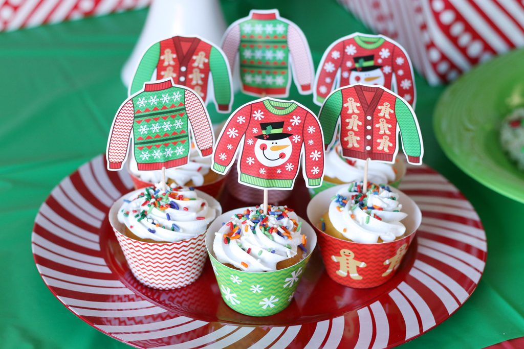 Ugly Sweater Holiday Party Cupcakes